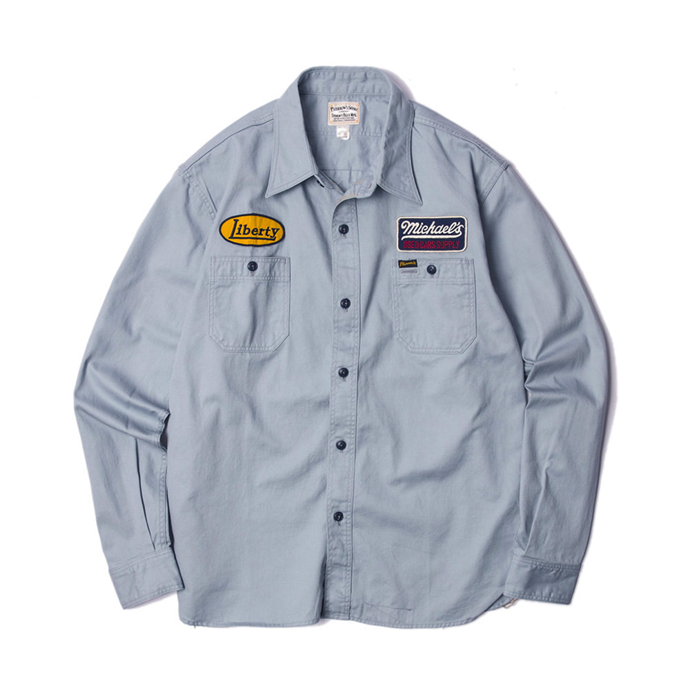 Embroidered work shirt sax gray 30 off unknown people for Embroidered work shirts online